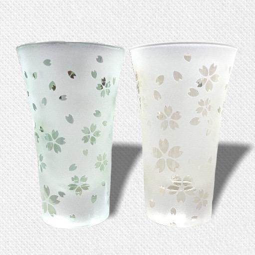 酒盃 流れる桜 ペアグラス