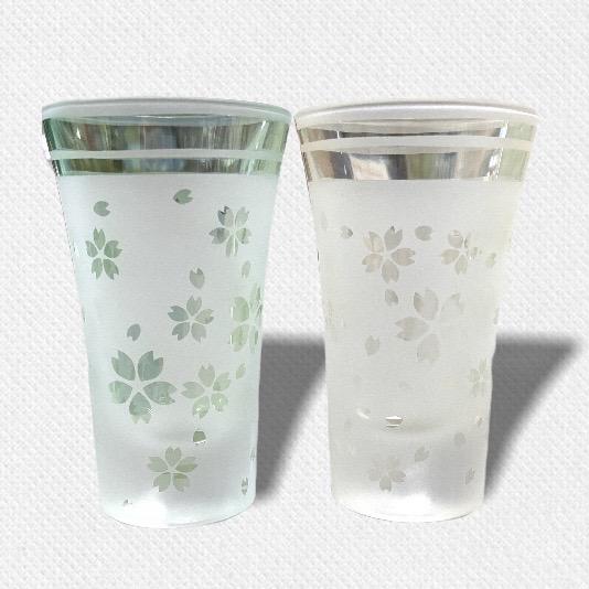 酒盃 流れる桜Ⅱ ペアグラス