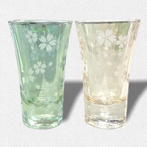 酒盃 流れる桜Ⅲ ペアグラス