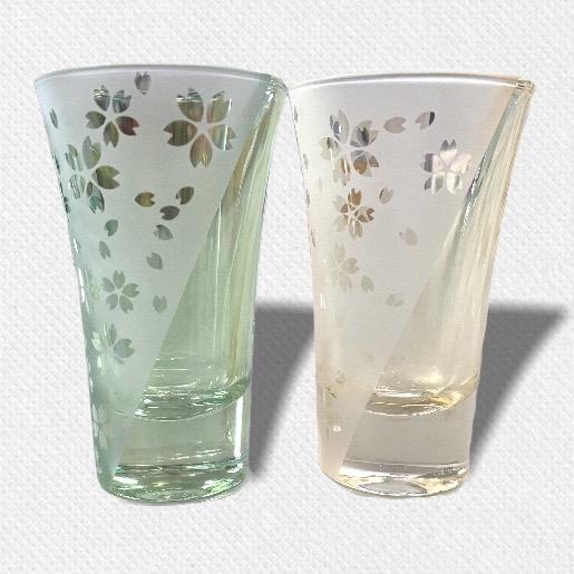 酒盃 流れる桜Ⅳ ペアグラス