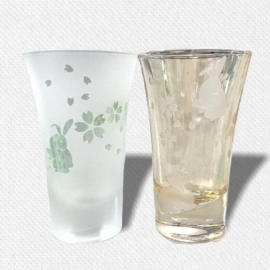 酒盃 うさぎと桜 ペアグラス